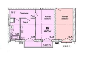 ЖК Бородіно: планування 1-кімнатної квартири 46.51 м²