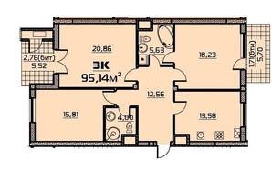 ЖК Бородино: планировка 3-комнатной квартиры 95.06 м²