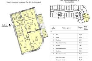 ЖК Борисо-Глебский 2: планировка 3-комнатной квартиры 76.79 м²