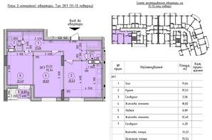 ЖК Борисо-Глебский 2: планировка 2-комнатной квартиры 75.74 м²