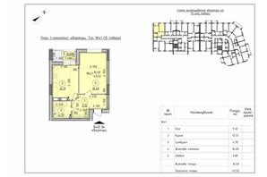 ЖК Борисо-Глібський 2: планування 1-кімнатної квартири 43.52 м²