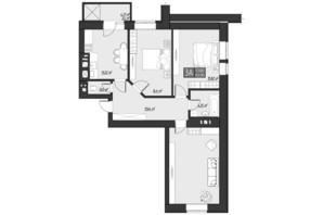 ЖК Bridge Town: планування 3-кімнатної квартири 83.9 м²