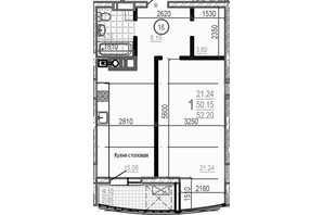 ЖК Брюссель: планировка 1-комнатной квартиры 52.2 м²