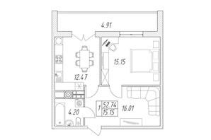 ЖК Британія Hall: планування 1-кімнатної квартири 52.74 м²