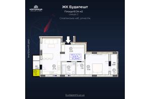 ЖК Будапешт: планировка 2-комнатной квартиры 61.34 м²