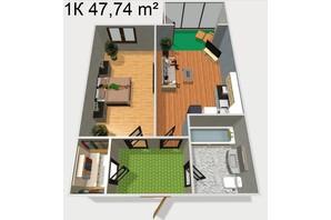 ЖК Будинок Чехова: планування 1-кімнатної квартири 47.74 м²