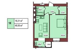 ЖК Будинок Чехова: планування 1-кімнатної квартири 48.56 м²