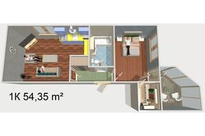 ЖК Будинок Чехова: планування 1-кімнатної квартири 54.35 м²