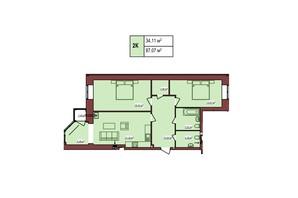 ЖК Будинок Чехова: планування 2-кімнатної квартири 87.07 м²