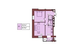 ЖК Будинок Чехова: планування 2-кімнатної квартири 64.76 м²