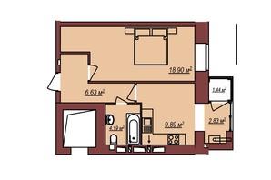 ЖК Будинок Чехова: планування 1-кімнатної квартири 42.87 м²