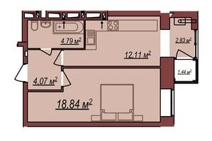 ЖК Будинок Чехова: планування 1-кімнатної квартири 43.07 м²