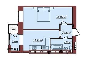 ЖК Будинок Чехова: планування 1-кімнатної квартири 43.55 м²