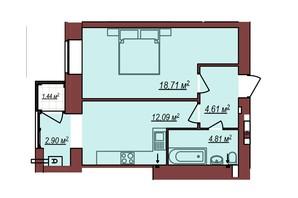ЖК Будинок Чехова: планування 1-кімнатної квартири 43.35 м²