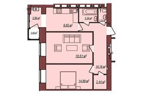 ЖК Будинок Чехова: планування 2-кімнатної квартири 63.97 м²