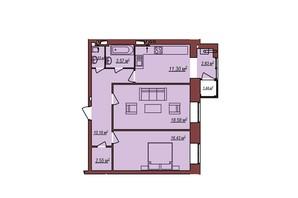 ЖК Будинок Чехова: планування 2-кімнатної квартири 67.38 м²