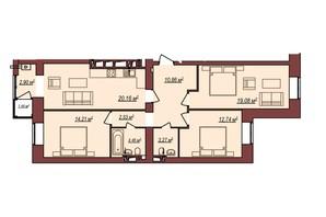 ЖК Будинок Чехова: планування 3-кімнатної квартири 90.64 м²