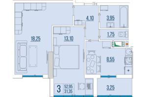 ЖК Бульвар Акацiй: планування 2-кімнатної квартири 52.95 м²