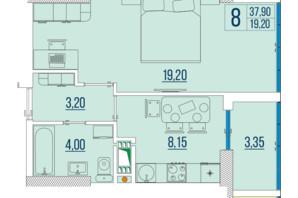 ЖК Бульвар Акацiй: планування 1-кімнатної квартири 37.9 м²