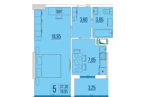 ЖК Бульвар Акацiй: планування 1-кімнатної квартири 37.3 м²