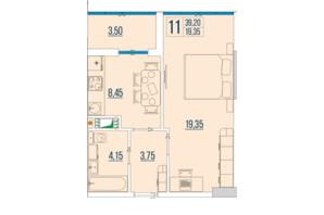 ЖК Бульвар Акацiй: планування 1-кімнатної квартири 39.2 м²