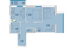 ЖК Бульвар Акацiй: планування 2-кімнатної квартири 58.1 м²
