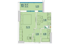 ЖК Бульвар Акацiй: планування 1-кімнатної квартири 35.1 м²