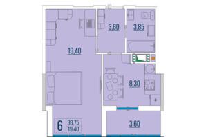 ЖК Бульвар Акацiй: планування 1-кімнатної квартири 38.75 м²