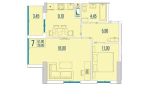 ЖК Бульвар Акацiй: планування 2-кімнатної квартири 51.9 м²