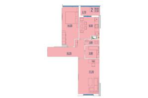 ЖК Бульвар Акацiй: планування 2-кімнатної квартири 60.6 м²