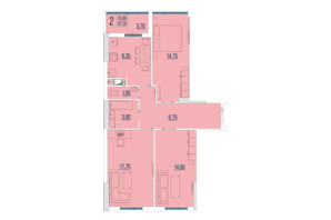 ЖК Бульвар Акаций: планировка 3-комнатной квартиры 75.65 м²