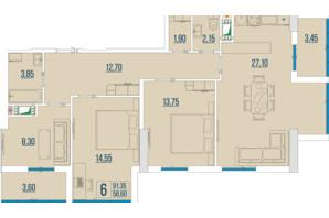 ЖК Бульвар Акаций: планировка 3-комнатной квартиры 91.35 м²
