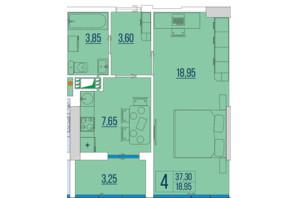 ЖК Бульвар Акаций: планировка 1-комнатной квартиры 37.3 м²
