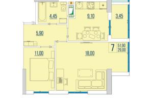 ЖК Бульвар Акаций: планировка 2-комнатной квартиры 51.9 м²