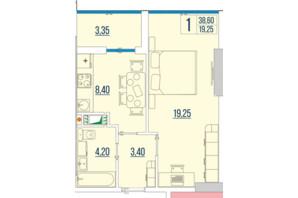 ЖК Бульвар Акаций: планировка 1-комнатной квартиры 38.6 м²