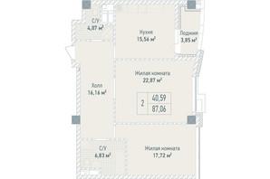 ЖК Бульвар фонтанов: планировка 2-комнатной квартиры 87.06 м²