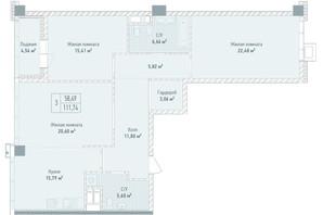 ЖК Бульвар фонтанов: планировка 3-комнатной квартиры 111.74 м²