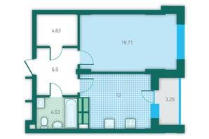 ЖК CRYSTAL HOUSE: планування 1-кімнатної квартири 52.12 м²