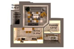 ЖК Caramel Residence: планировка 1-комнатной квартиры 45.83 м²