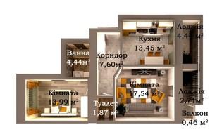 ЖК Caramel Residence: планування 2-кімнатної квартири 66.44 м²