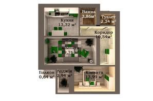 ЖК Caramel Residence: планування 2-кімнатної квартири 67.29 м²