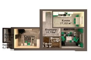 ЖК Caramel Residence: планування 2-кімнатної квартири 71.56 м²