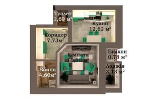 ЖК Caramel Residence: планировка 1-комнатной квартиры 46.86 м²