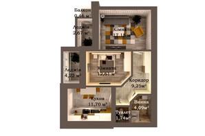 ЖК Caramel Residence: планування 2-кімнатної квартири 63.92 м²
