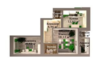 ЖК Caramel Residence: планування 2-кімнатної квартири 64.06 м²