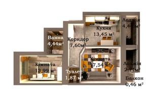 ЖК Caramel Residence: планування 2-кімнатної квартири 66.5 м²