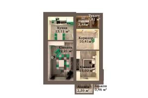 ЖК Caramel Residence: планування 2-кімнатної квартири 69.49 м²