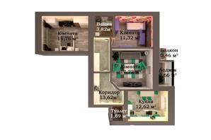 ЖК Caramel Residence: планування 3-кімнатної квартири 79.17 м²