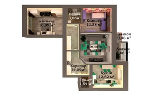 ЖК Caramel Residence: планування 3-кімнатної квартири 82.18 м²