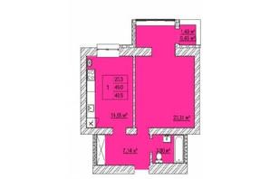 ЖК Caramel Residence: планування 1-кімнатної квартири 49.5 м²